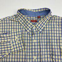 Izod Button Up Shirt Men's Size 2XL XXL Long Sleeve Yellow Blue White Plaid
