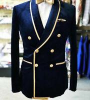 Double Breasted Nvay Blue Men Party Blazer Velvet Wedding Groom Formal Tuxedos