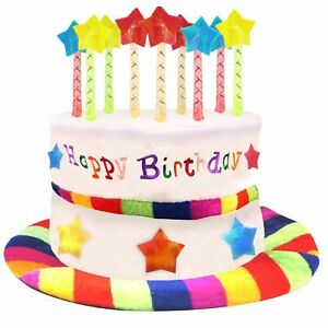 Multi Coloured Happy Birthday Cake Hat Plush Velvet Party Candles Fancy Dress