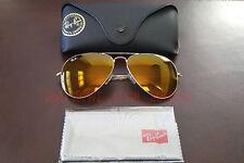 New Ray Ban Aviator Large Metal 3026 AMBER BROWN flash Mirror 62MM Sunglasses