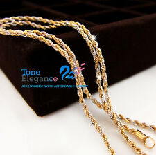 9ct  yellow  white gold filled solid twist chain men women Necklace