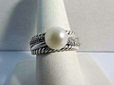 David Yurman Diamond, 9mm Pearl Cable Crossover Ring Size 8.5 #R251