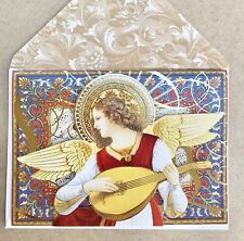 Punch Studio 6 Christmas Cards Musical Angel 3D Dimensional Gold Embellished