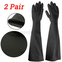 2X 60CM Latex Gauntlets Gauntlet Long Gloves Rubber PPE Industrial Anti