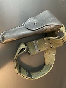 Vintage WWII US Army Leather Holster & Belt--- Graton & Knight Co 1943