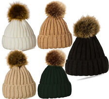 Warm Fur Ball Knitting Ski Cap Pompom Hat L27