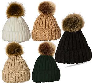 Cable Knit HAT Winter Warm Knitting Ski Cap Pompom Hat Ladies Faux Fur L27