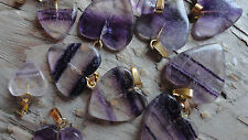 Heart Valentines FLUORITE Gold top sizes vary between 10-20mm HhHhH (pkg 25)