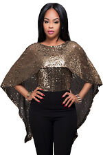New Stunning Black Gold Sequins Cape Top Size 8 10 12 14 UK