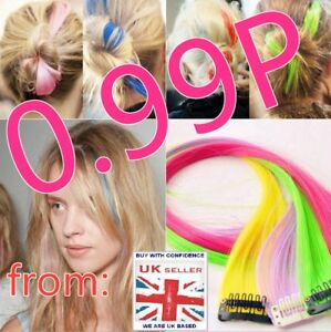 1 Rainbow Clip In Highlight Streaks Festival Long like Human Hair Extension UK