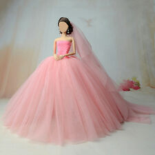 Fashion Princess Royalty Wedding Dress Clothes Gown+veil For Barbie Doll Kid Toy