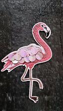 Bügelbild Flamingo mit großen Pailletten rose Vogel Patches DIY Stoff Aufnäher