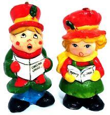 "VTG 1980s (2) Unused 5"" Christmas Carolers Boy & Girl Figurines Wax Candle"