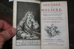 1765 OEUVRES DE MOLIERE TOME PREMIER VIE DE L'AUTEUR by DE VOLTAIRE 5 B/W PLTS^