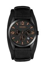 KAHUNA MEN'S BLACK DIAL BLACK CUFF STRAP CHRONOGRAPH WATCH - KSC0014G - RRP:£60