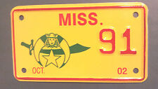 2002 MISSISSIPPI 91 SHRINER'S MOTORCYCLE LICENSE PLATE