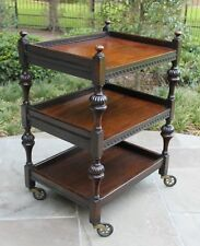 Antique English Tiger Oak 3-Tier Tea Cart Rolling Table Trolley Tray Dumbwaiter
