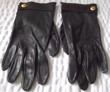 Vintage Chanel Black Lamb Skin Leather Gloves Size 7 1/2