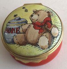 Halcyon Days Enamels Trinket Box Designed by Tiffany Bear With Honey Pot Look