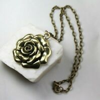 Rose Charm Brass Pendant and Chain Necklace Golden Rosebud Flower Lobster Clasp