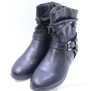 Cuffed Ankle Boot Black Paper Clip Ankle Strap Buckled Sz 8.5M Round Toe So