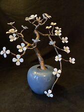 Vtg Big Bovano Copper Enamel Flower Sculpture Bonsai Tree White Flower Blossom