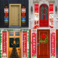 Christmas Banner Door Windows Hanging Decor Porch Sign Xmas Home Ornaments AU