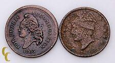 1863 Civil War Tokens 2 pc Lot Columbus Storecard For Public Accomodation (AG-VF