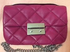 Michael Kors Quilted Leather Sloan Chain Messenger Crossbody Bag Raspberry Pink