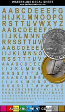 """Waterslide Decals Arial Narrow Gold Letters 2""""x3"""" Decal Sheet +9 Other Colors"""