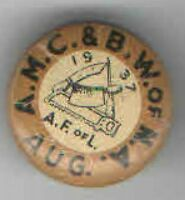1937 LABOR UNION pin BUTCHER pinback #2