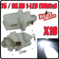 10X T5 Car Gauge LED Speedo Dashboard Dash Wedge Side Light Bulb Lamp White 12V
