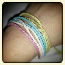 Hemp 8 Strand Bracelet Cuff Multicolor Pink Blue White Yellow