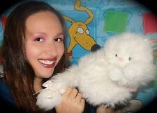 "Oshko White Persian Cat Fluffy Long Hair Blue Eyes Pink Nose Bow Plush 10"" Toy"