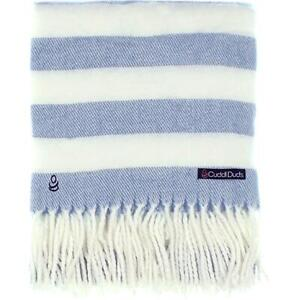 Cuddl Duds Blue Striped Blanket Soft Throw Bedding  0035