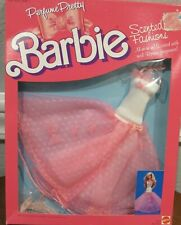 "NEW BARBIE 1987 ""PERFUME PRETTY"" SCENTED FASHIONS - PINK & WHITE GOWN - NRFB"