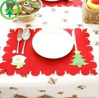 Christmas Table Mats and Fork Sets Of Dual-use Non-Woven Fabric Table Mats Gift