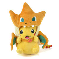 New Pokemon Pikachu With Charizard Hat Plush Soft Toy Stuffed Animal Doll 9''