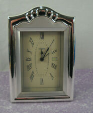 Lacquer Coated Clock Silver Plated Mantle Desk Clock