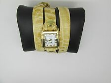 La Mer Collections  Cream Gold Croco Wrap Watch Women's LMSTW7006