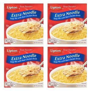 (4 Pack) Lipton Extra Noodle Soup Noodle Soup Mix,Perfect Comfort Food 4.9 Oz