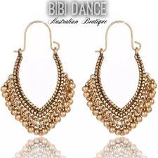 Bellydance Costume/ Tribal Jewellery, Gold Belly Dance Tassel Earrings