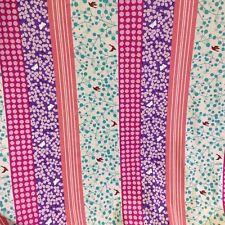 Echino Kokka Cotton Sewing Japanese  Fabric BIRDS PINK Stripe Etsuko Furuya