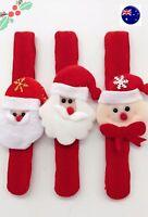 3x Christmas Santa snowman Slap On Bracelet wrist band Party Novelty Favor Gift