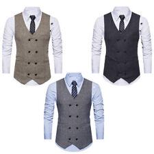 Men Double Breasted Dress Suit Formal Tweed Peaky Blinders Tops Vests Waistcoat