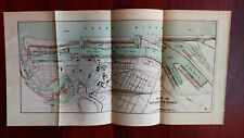 1910 Plan Map of Bramerhaven Harbor Germany Shows Lock and Geest River