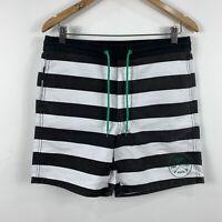 RVCA Mens Board Shorts Size 32 Swim Shorts Stripe Pattern Black & White