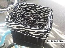 Bicycle Basket Liner Black/White Zebra Reversable Cruise Bikes