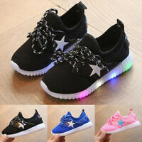 LED Light Up Luminous Shoes Kids Toddler Baby Casual Trainers Boys Girls Gift