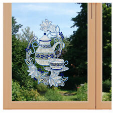 Fensterbild Kaffeekanne Fensterdeko aus Plauener Spitze Küchen-Motiv mit Blumen